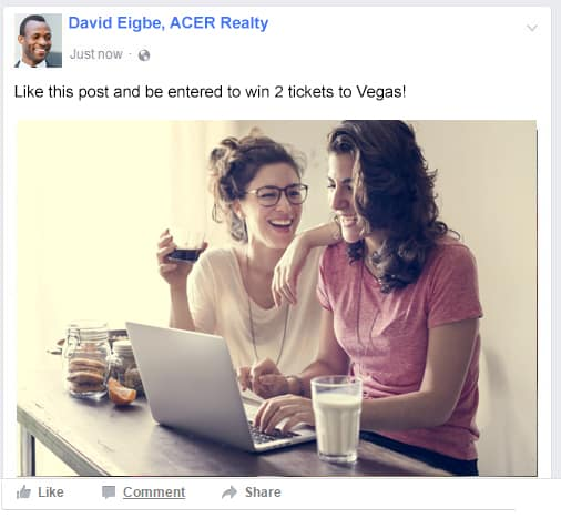 facebook ad showing trip incentive
